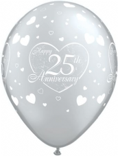 Happy 25th Anniversary Hearts Silver Balloons